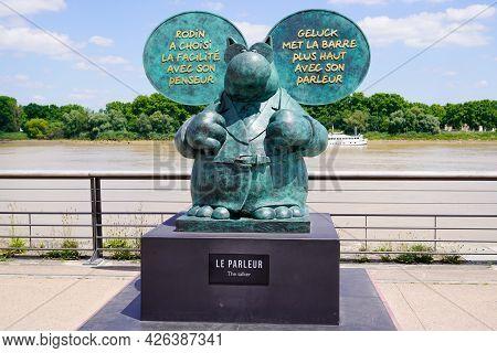 Bordeaux , Aquitaine France  - 07 04 2021 : Exhibition Le Chat Deambule The Cat Walks Bronze Statue
