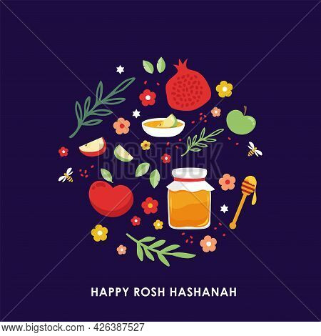 Jewish New Year, Rosh Hashanah, Greeting Card With Traditional Icons. Happy New Year. Apple, Honey,
