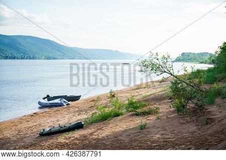 Volga river channel, Mastryukovskie lakes, Russia, Samara, Samara region. Summer Outdoors