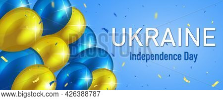Ukrainian Independence Day Banner. Vector Holiday Illustration