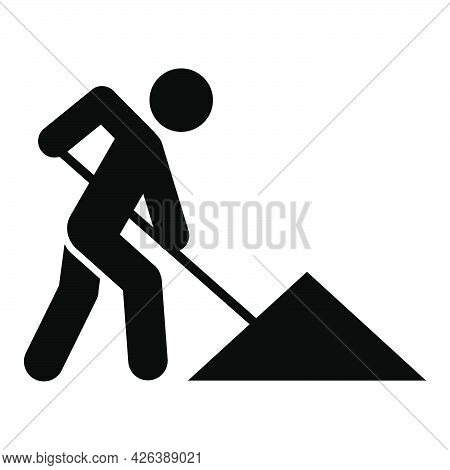 Man Digging Icon People In Motion Active Lifestyle Sign. Flat Illustration