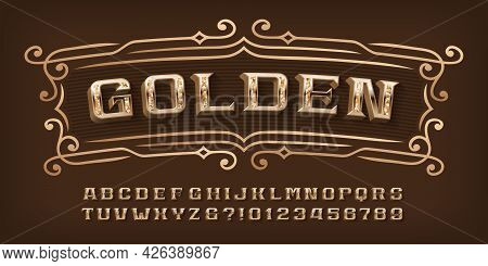 Golden Alphabet Font. 3d Ornate Letters, Numbers And Symbols. Stock Vector Typescript For Your Typog