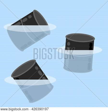 Barrel In Water. Spilled Fuel And Gasoline. Ocean Pollution. Flat Cartoon Concept. Dumping Chemicals