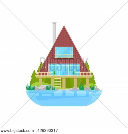 House At Water, Bungalow At Stilts At River Or Lake, Vector Building Flat Icon. Wooden Lodge Or Bung