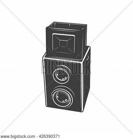 Film Reel Box Or Analog Photocamera Isolated Photo Shooting Equipment Monochrome Icon. Vector Photog