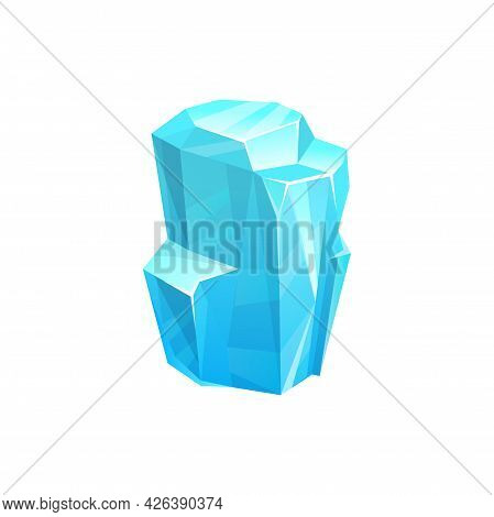 Ice Crystal Or Iceberg, Frozen Glass Or Snow Glacier Rock, Vector Icon. Frost Or Cold Water Icicle,