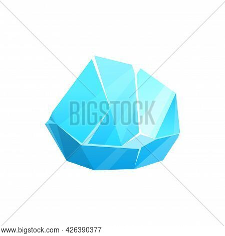 Ice Crystal Or Iceberg Rock, Frozen Glass And Snow, Vector Icon. Glacier Of Cold Blue Frost Or Froze