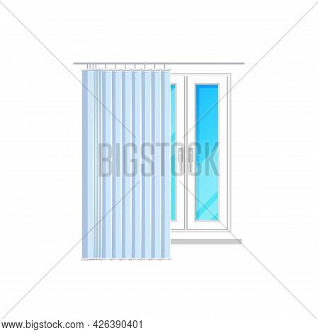 Window With Blinds Shutters Or Jalousie Curtain Shades, Vector Isolated Flat Icon. Closed Or Open Ve