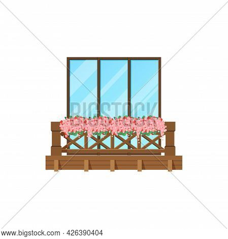 Balcony Window Of House Building Facade, Wood Banister Porch, Vector. Apartments Terrace With Wooden
