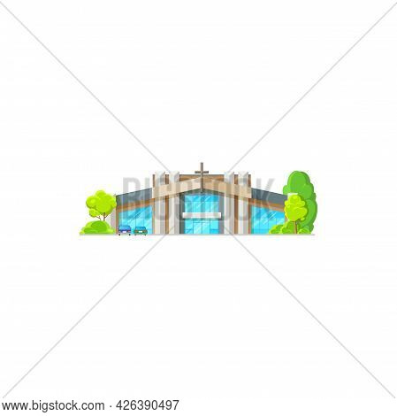 Catholic Church Building Vector Icon. Contemporary Church Architecture, Cathedral, Chapel Or Monaste