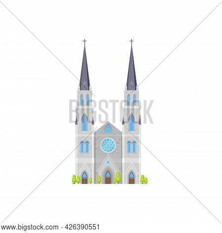 Cathedral Church Building, Temple And Chapel Vector Medieval Architecture Icon. Catholic Or Christia