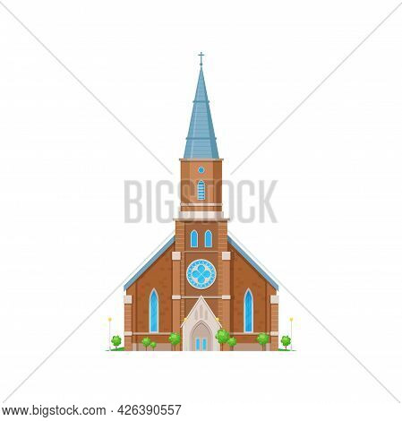 Church Or Chapel Of Cathedral, Medieval Gothic Temple Building, Vector Religion Place Architecture.