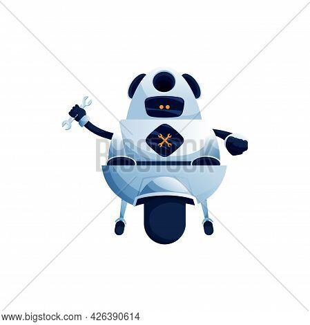Maintaining And Fixing Robot With Wrench Spanner On One Wheel Isolated Robot Hi-tech Character. Vect