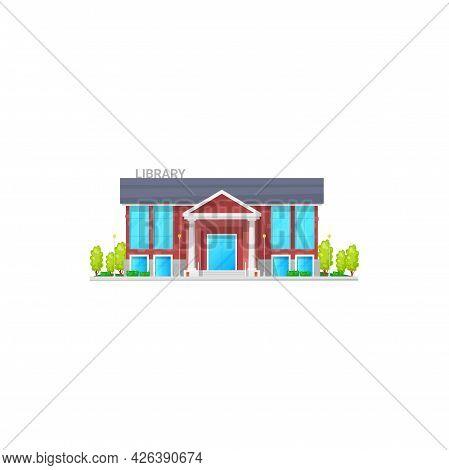 Library House City Public Establishment Isolated Facade Exterior Cartoon Icon. Vector Lyceum With Re