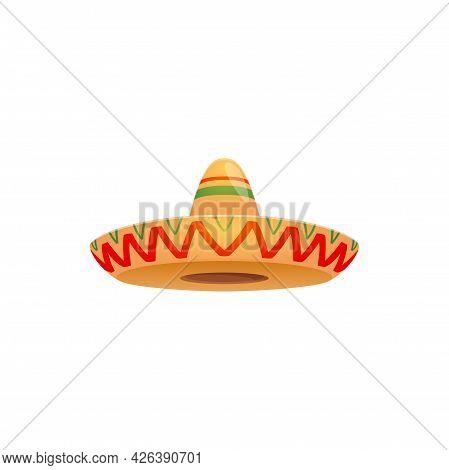 Mexican Sombrero Hat, Festive Cap Vector Icon. Spanish Headwear For Mexico Cinco De Mayo Festival. I