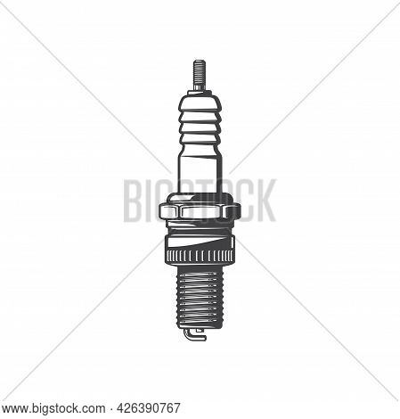 Sparkplug Metal Threaded Cylinder With Central And Lateral Electrodes Isolated Monochrome Icon. Vect