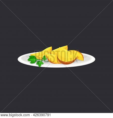Baked Potato Wedges With Green Parsley Green On Ceramic Plate Isolated. Vector Country Style Potato