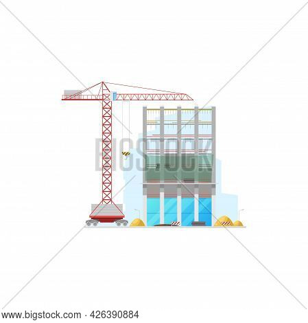 Tall Office Building Construction Isolated Facade And Lifting Crane Icon. Vector Machinery And Stop