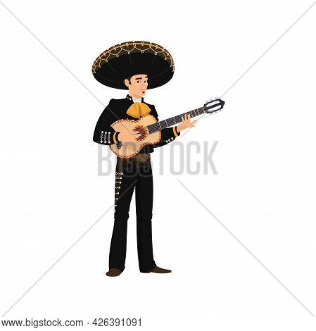 Carnival Musician Mariachi Playing Guitar Isolated. Vector Spanish Guitarist Latino Street Player In