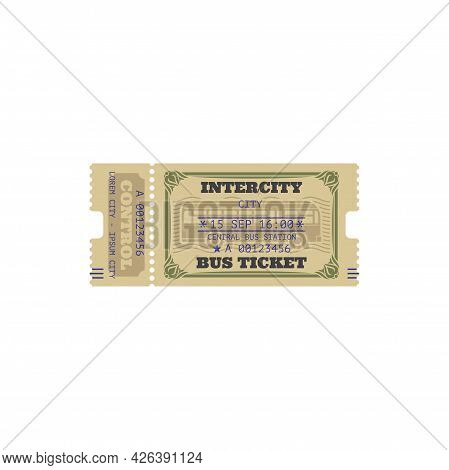 Intercity Bus Ticket Isolated Template. Vector Central Bus Station Control Pass, Date And Departure