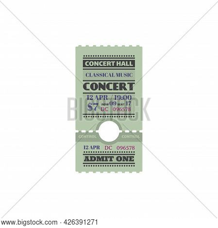 Retro Ticket Invitation On Orchestra Symphony, Live Music On Stage At Concert Hall Isolated Card Tem