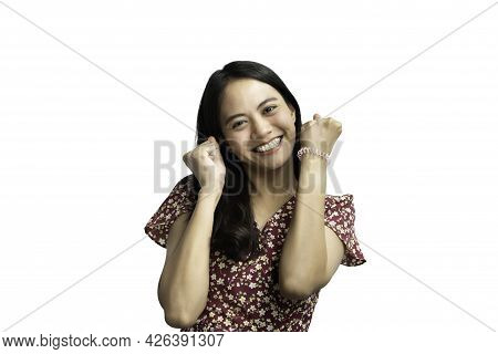 Asian Pretty Woman In Cheongsam Chinese Style Great Happy Joyful And Yes Gesture In Success With Hap