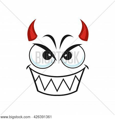 Cartoon Devil Face, Smiling Vector Emoji, Demon With Red Horns Gloat Smile Emotion With Angry Eyes A