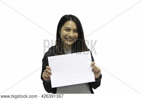 Woman Showing Blank White Paper For Copy Space