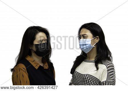 Asian Pretty Women Wearing Mask Respiratory Protection Mask Against Epidemic Flu Covid19 Or Corona V