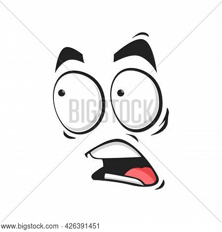 Cartoon Face Frightened Emoji, Vector Scared Facial Expression With Wide Open Or Goggle Eyes And Yel
