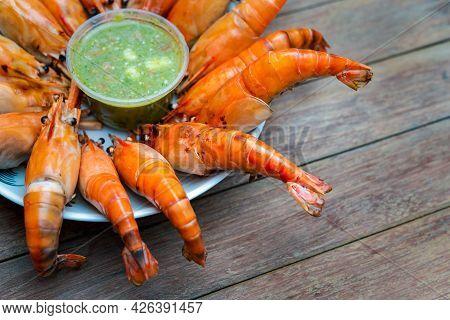 Grilled Shrimp (giant Freshwater Prawn) At Market