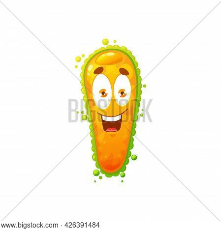 Cartoon Virus Cell Vector Icon, Cute Bacteria Or Germ Character With Funny Face. Smiling Pathogen Mi