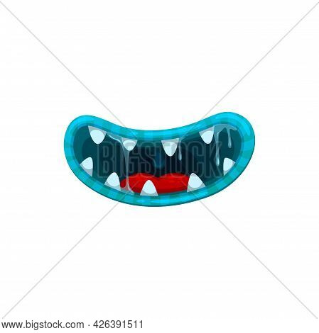 Monster Mouth, Vector Smile Jaws With Sharp Teeth And Nasty Blue Lips With Dripping Gooey Saliva. Ha