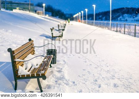 A Row Of Benches Receding Into The Distance In Winter, All Empty Benches Covered With Snow. Snowfall