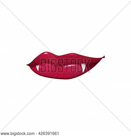 Vampire Mouth With Sharp Fangs Vector Icon. Cartoon Closed Female Red Lips With Long Pointed White T