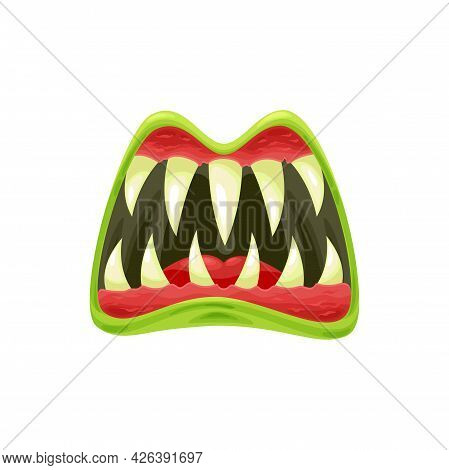 Monster Mouth Vector Icon, Creepy Zombie Or Alien Jaws With Sharp Teeth, Green Lips And Red Tongue.