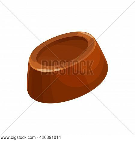 Chocolate Candy Vector Icon. Sweet Dessert, Choco Candy With Liquor, Praline Or Jelly, Dark Bitter O