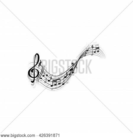 Music Sheet With Treble Clefs And Notes Isolated Monochrome Icon. Vector Clef Sign, Modern Musical C