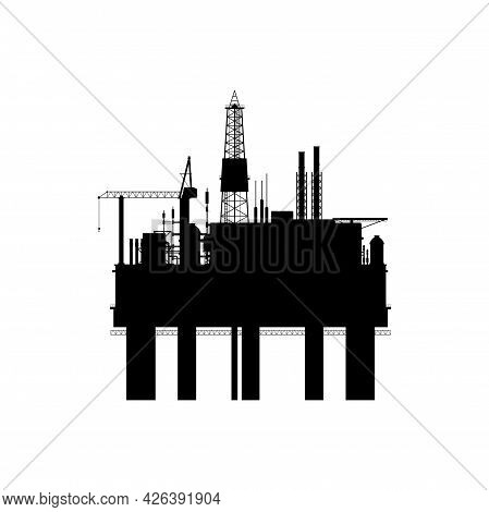 Drilling Factory Platform Rig, Ndustrial Buildings, Chemical Factory Silhouette Isolated Icon. Vecto