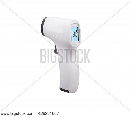 Non-contact Infrared Thermometer Isolated On White Background. Isometric Medical Digital Thermometer