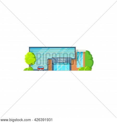 Modern Gymnastic Center, Sport Activities Structure Isolated Cartoon Icon. Vector Sport Gym City Arc