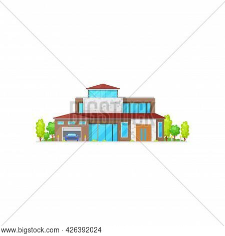 Modern House With Car In Garage, Green Trees, American Building Facade Exterior Isolated Icon. Vecto