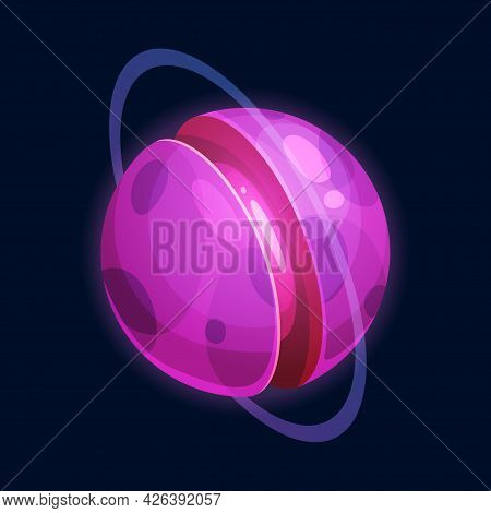 Sweet Cartoon Planet Sci-fi Fantasy World Isolated Cartoon Icon. Vector Yummy Outer Space Planet Of