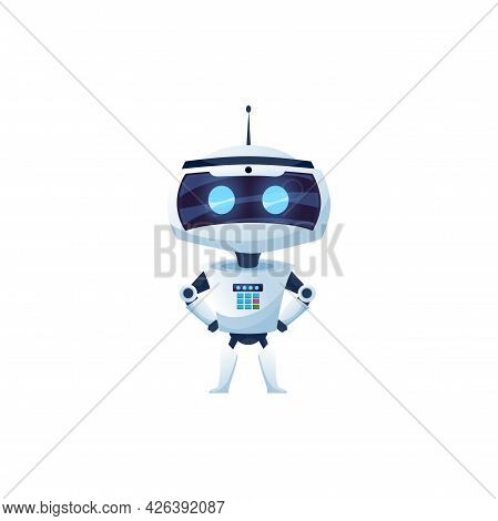 Cartoon Robot Vector Icon, Cyborg Character, Toy Or Bot, Artificial Intelligence Technology. Friendl