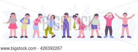 Ill Children With Toothache Headache Cough Rash Vomiting Feeling Bad Flat Composition Vector Illustr