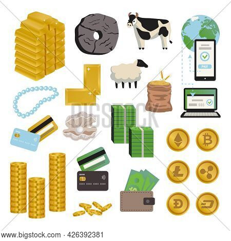Evolution Money Icon Set Money In Various Forms In The Form Of Bullion Property Coins Banknotes On B