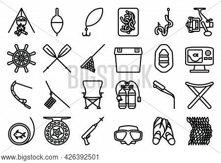 Fishing Icon Set. Bold Outline Design With Editable Stroke Width. Vector Illustration.