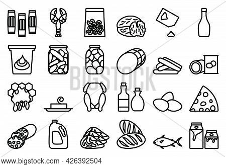 Food Icon Set. Bold Outline Design With Editable Stroke Width. Vector Illustration.