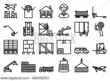 Logistics Icon Set. Bold Outline Design With Editable Stroke Width. Vector Illustration.