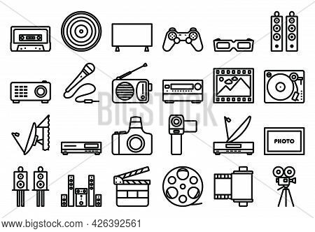 Multimedia Icon Set. Bold Outline Design With Editable Stroke Width. Vector Illustration.